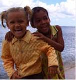 Children at Manglito beach, near Baracoa