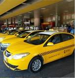 Official taxis at the airport are easy to recognize